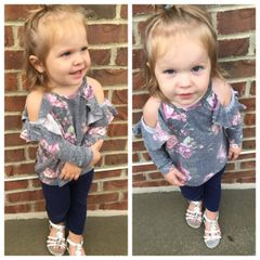 Kids Floral Cold Shoulder Top