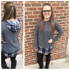 Plaid Contrast Hooded Sweater
