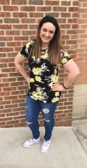 Cross Front Black and Yellow Florals Top