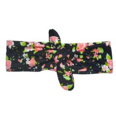 Black Floral Knotted Headband- Headbands of Hope