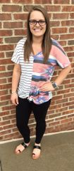 Aztec and Stripe Tie Front Top