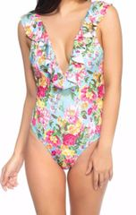 Floral Ruffled Plunging Neckline Swimsuit