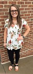 Ivory Cross Front Flowy Florals Top