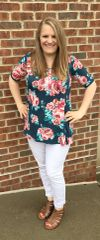 Teal Blooms Top