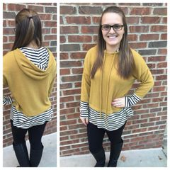 Mustard and Navy Stripe Hooded Sweater