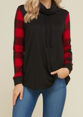 Plaid Sleeve Cowl Neck Sweater