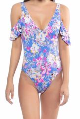 Ruffled Sleeves Floral Swimsuit