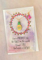Die Cut Wood Necklace Card- Pineapple