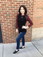 Black Top with Red Plaid Sleeves
