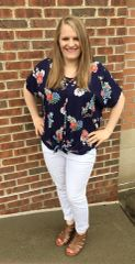 Navy Florals Blouse