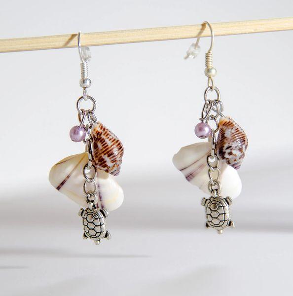 Make Your Own Seashell Jewelry: Seashells And Charm Dangle Earrings