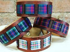 Leather Bracelets with Tartan Ribbon Inserts