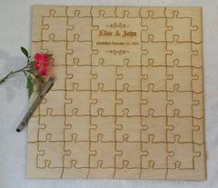 Personalized Custom Laser Cut Jigsaw Puzzle Guest Book from Baltic Birch