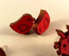 Lovebird Post Earrings made from Maple