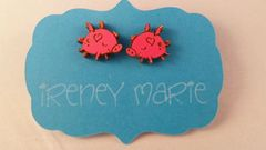 Pink Flying Pig Post Earrings made from Maple Wood