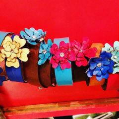 Leather Bracelets with Flowers