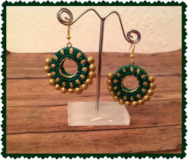 Green And Gold Chandbali Earrings Sowjy The Online Jewelry Store