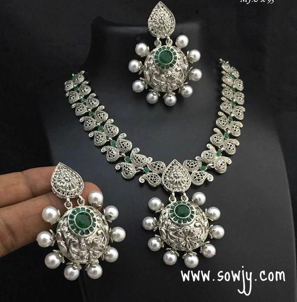Oxidised Short Maanga Necklace With Big Bali Earrings Green Stones