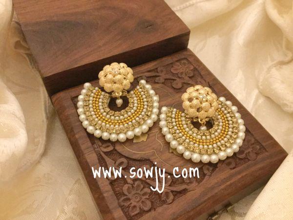 Grand Party Wear Paper Based Chandbali Earrings In Gold Sowjy