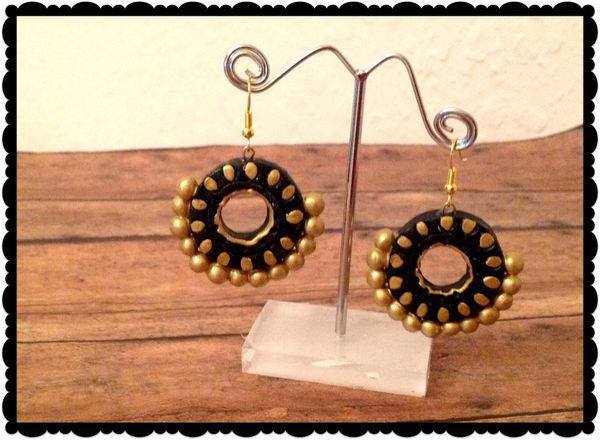 Black And Gold Chandbali Earrings Sowjy The Online Jewelry Store