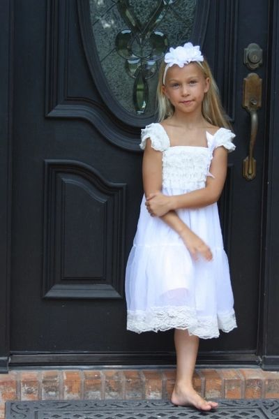 2d52f3cd0d6 White One Tier Chiffon Girls Dress- Flower Girl Dresses- Lace dress- Rustic  Girls Dress- Baby Lace Dress- Junior Bridesmaid