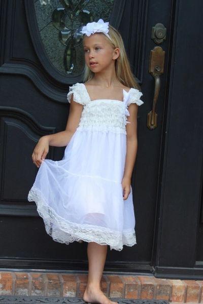 67d26efc20f White One Tier Chiffon Girls Dress- Flower Girl Dresses- Lace dress- Rustic  Girls Dress- Baby Lace Dress- Junior Bridesmaid