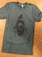 Attack Hunger Dark Heather Green Sharkstyle Tee