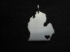 Silver Mitten Pendant with Heart by The Mollysmith