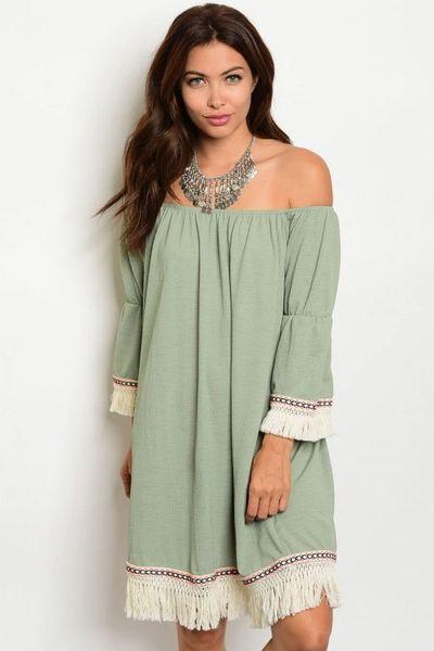 79cc3b66 Native Fringe Green Dress