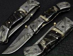 Damascus Antique Folding Blade