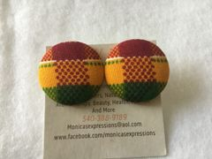 African Kente Fabric Button Earrings