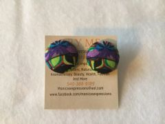 African Feathers Fabric Button Earrings