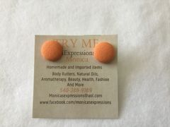 Xtra Small Orange Fabric Button Earrings