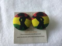 Rasta Fabric Button Earrings