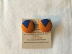 African Orange With Blue V Fabric Button Earrings