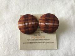 Large Brown Plaid With White Stripe Fabric Button Earrings