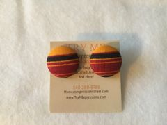 African Stripes Fabric Button Earrings