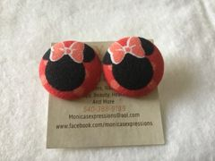 Large Minnie Bow Fabric Button Earrings