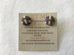 Xtra Small African Purple/ Yellow Fabric Button Earrings