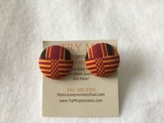 African Yellow, Burgundy Stripes Fabric Button Earrings