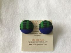 African Blue, Green Fabric Button Earrings