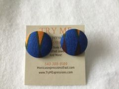 African Blue With Daggers Fabric Button Earrings