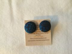 Blue, Black Fabric Button Earrings