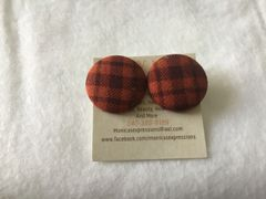 Large Dark Brown Plaid Fabric Button Earrings