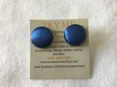 Blue Shimmer Fabric Button Earrings
