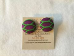 African Honeycomb Fabric Button Earrings