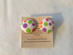 Multicolor Circles Fabric Button Earrings