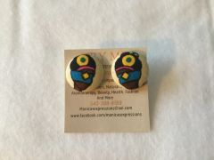 African Blindfold Woman With Diamond Fabric Button Earrings