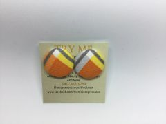 Summer Collection V Top Fabric Button Earrings