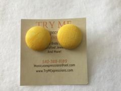 Small Yellow Fabric Button Earrings